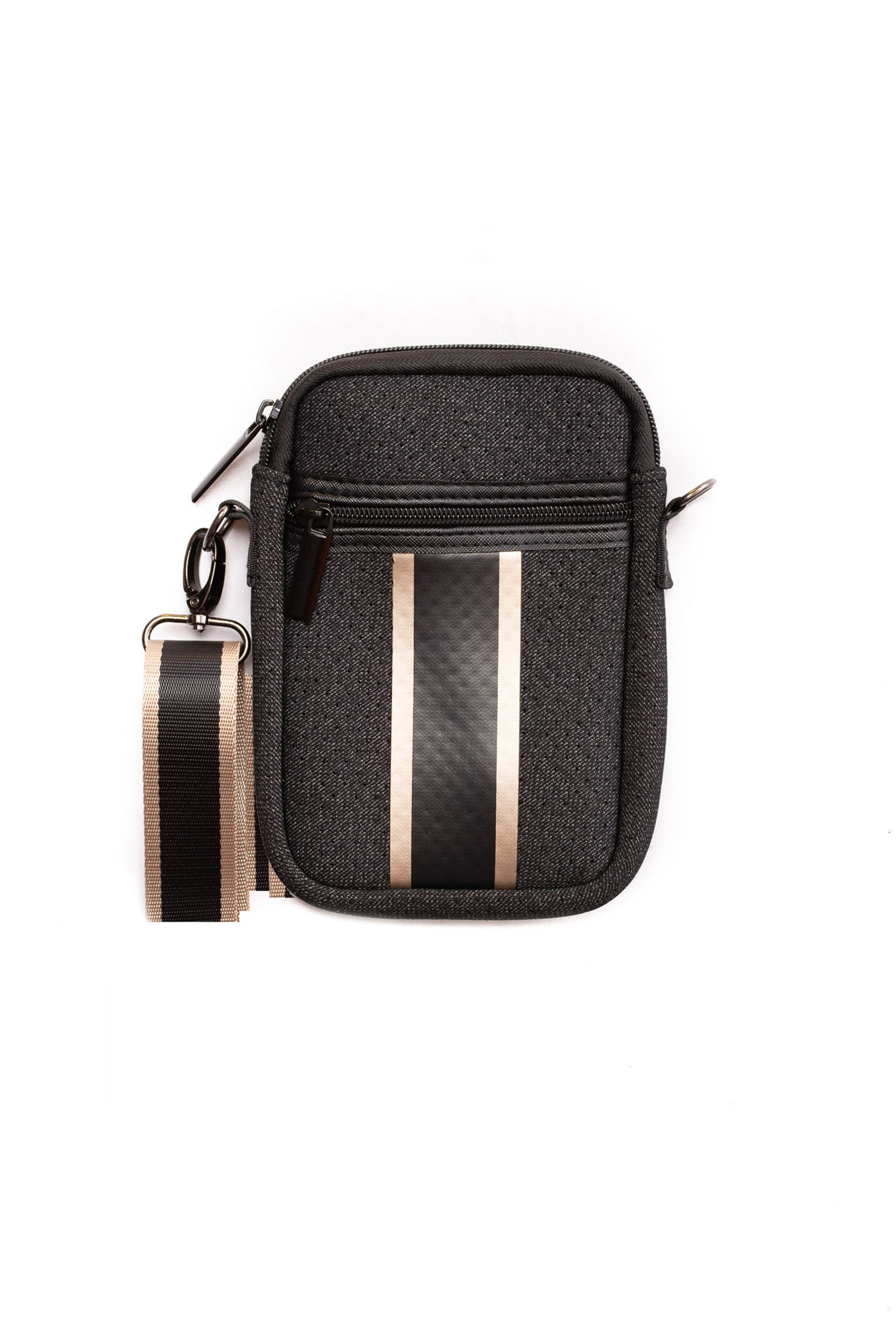 Haute Shore - Casey Grand Neoprene Cell Phone Case (Grand, Black Denim w/Platinum Stripe)