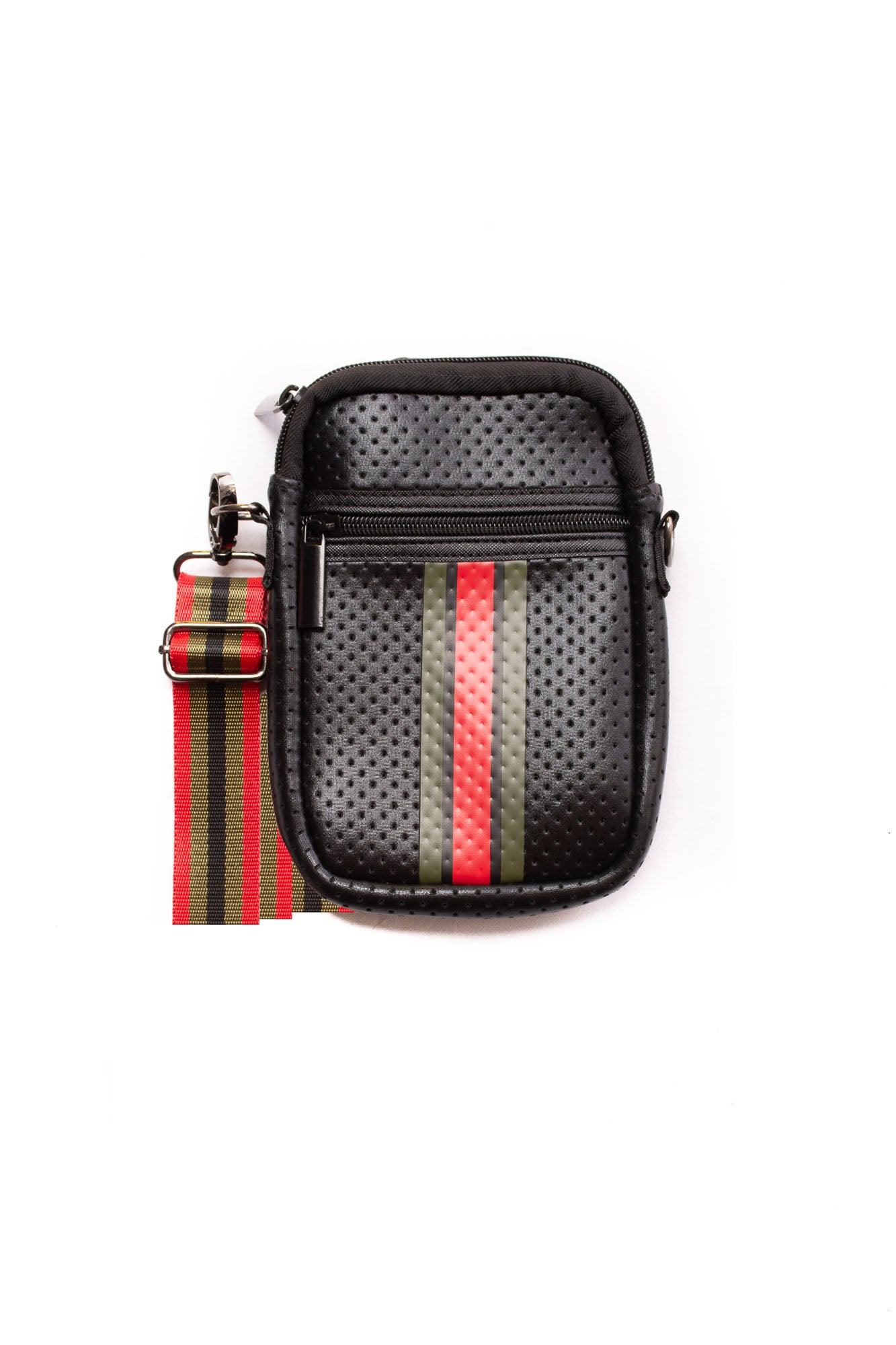 Haute Shore - Casey Bello Neoprene Cell Phone Case (Casey, Black w/Green & Red Stripe)