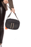 Haute Shore - Drew Puffer Grand Crossbody (Drew, Black Denim w/Platinum Stripe) alt view 5