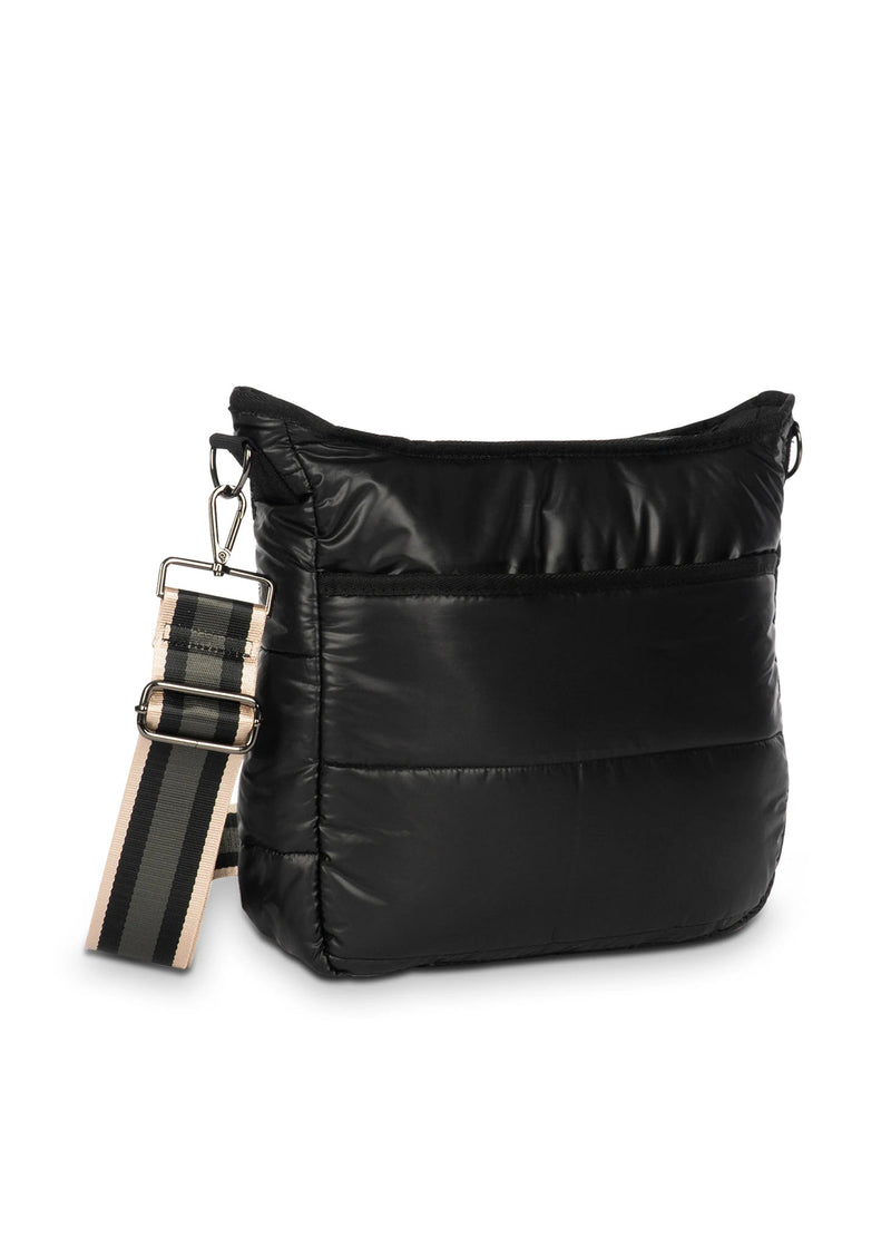 Haute Shore - Perri Matte Puffer Crossbody (Perri, Matte Black w/Solid Black & Rose Gold/Black Striped Straps)