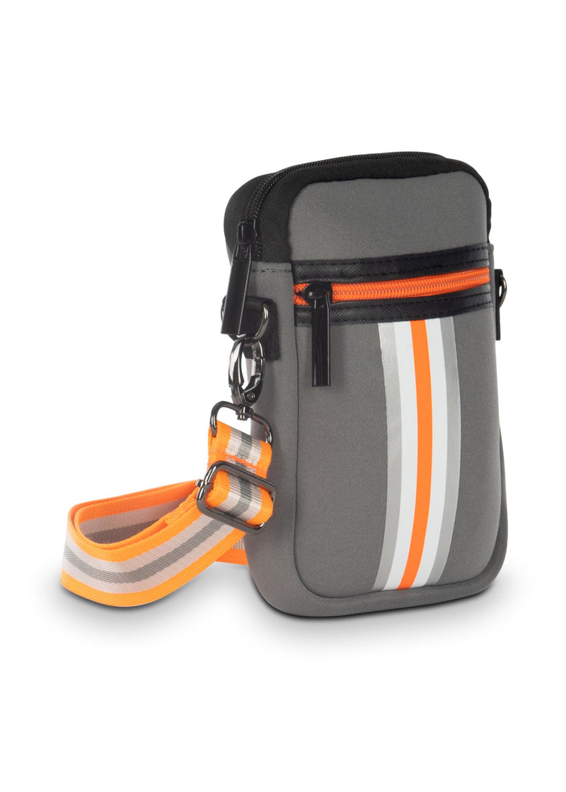 Haute Shore - Casey Hip Neoprene Cell Phone Case (Casey, Gray w/Silver, White & Orange Stripe)
