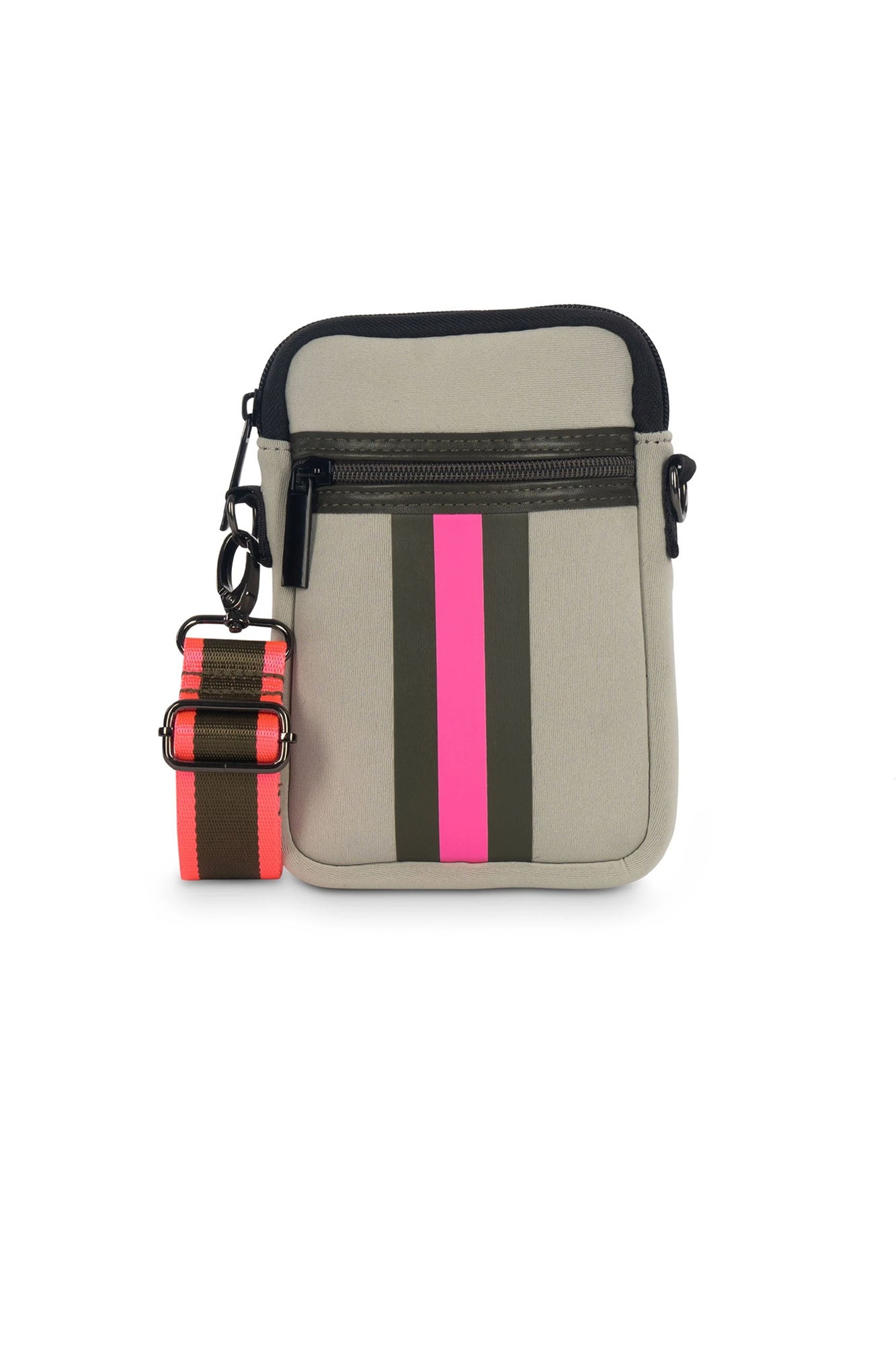Haute Shore - Casey Swank Neoprene Cell Phone Case (CASEY, Putty w/Army & Hot Pink Stripe)