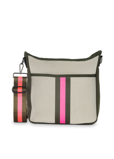 Haute Shore - Blake Swank Cross Body (Blake, Putty w/Army & Hot Pink Stripe)