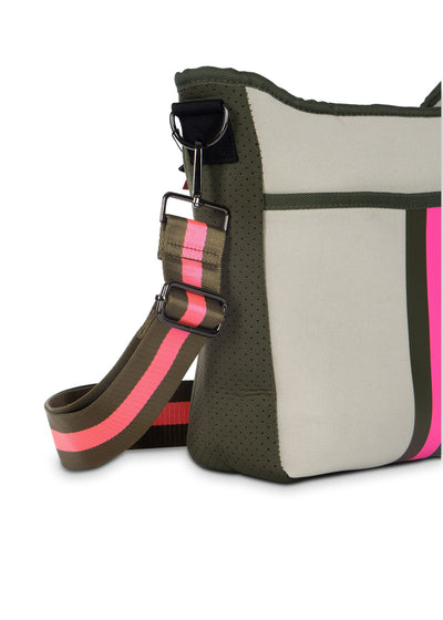 Haute Shore - Blake Swank Cross Body (Blake, Putty w/Army & Hot Pink Stripe) alt view 3