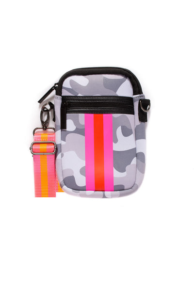 Haute Shore - Casey Rise Neoprene Cell Phone Case (RISE, Grey Camo w/Pink & Red Stripe)