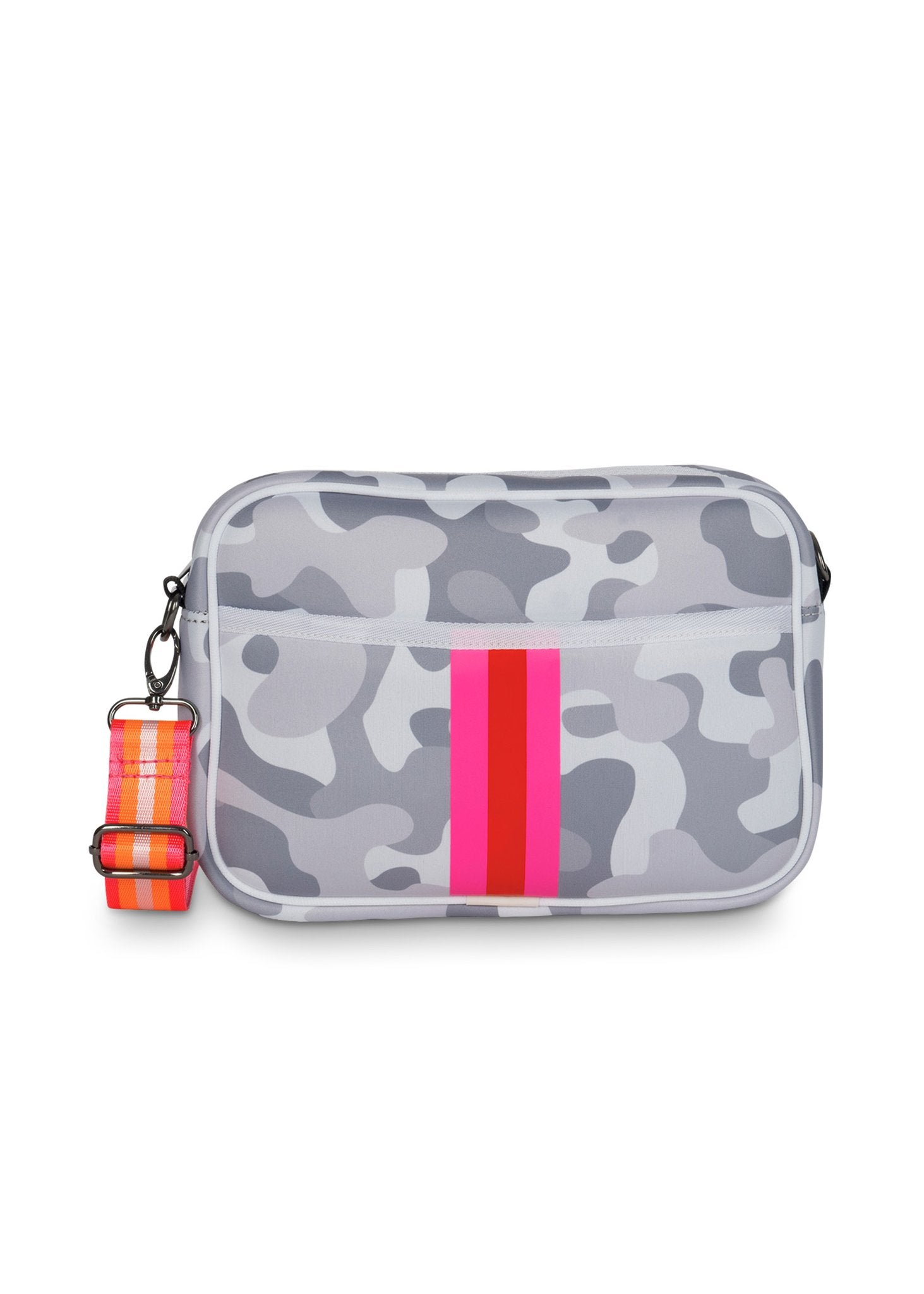 Haute Shore - Drew Rise Crossbody (Drew, Grey Camo w/Pink & Red Stripe)
