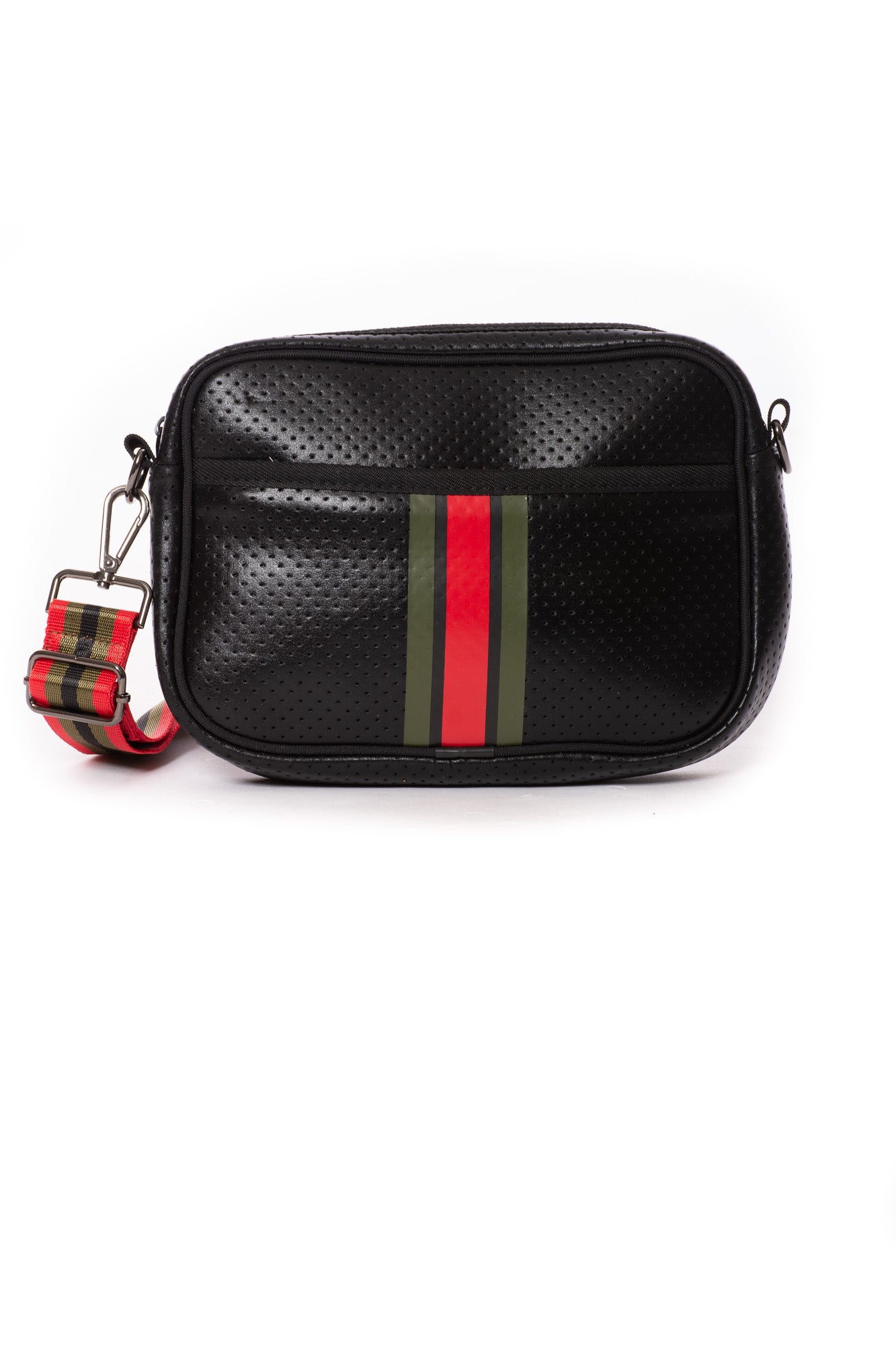 Haute Shore - Drew Bello Crossbody (Drew, Black w/Red & Green Stripe)