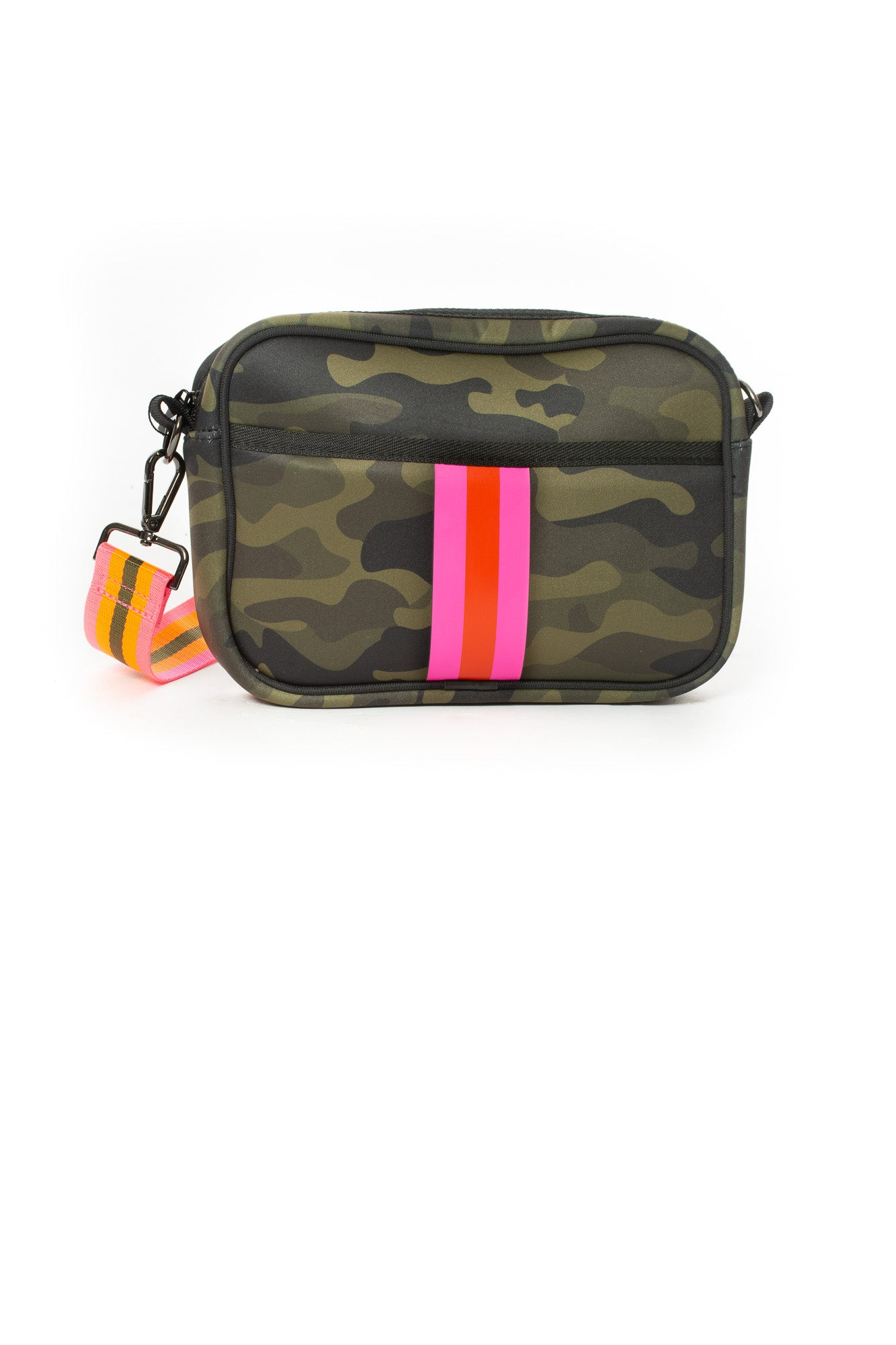 Haute Shore - Drew Showoff Crossbody (Drew, Green Camo w/Orange & Pink Stripe)
