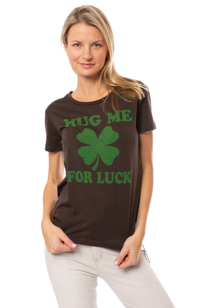 Chaser - Hug Me For Luck T (CW6296-CHA5089, Urban Black)