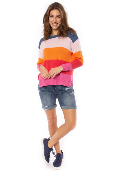 Zaket & Plover - Horizontal Stripe Color Block Sweater (ZW2225U, Bubble Gum)