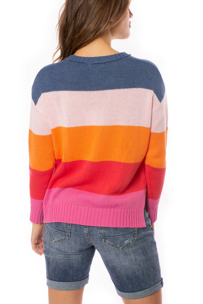 Zaket & Plover - Horizontal Stripe Color Block Sweater (ZW2225U, Bubble Gum) alt view 3