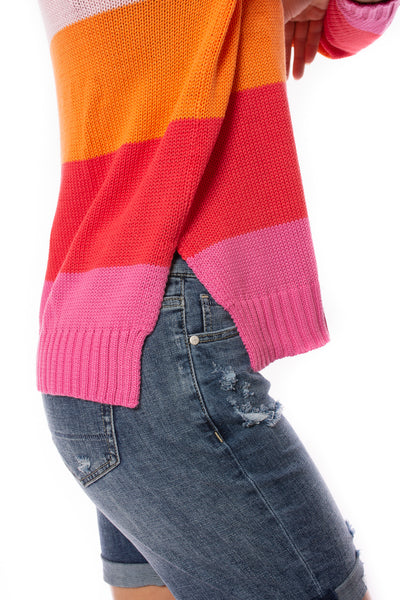 Zaket & Plover - Horizontal Stripe Color Block Sweater (ZW2225U, Bubble Gum) alt view 4