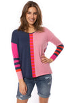 Zaket & Plover - Deep V Neck Striped Arm Sweater (ZW2226U, Flaming) alt view 1