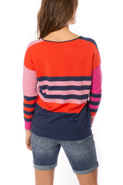 Zaket & Plover - Deep V Neck Striped Arm Sweater (ZW2226U, Flaming) alt view 3