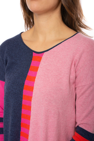 Zaket & Plover - Deep V Neck Striped Arm Sweater (ZW2226U, Flaming) alt view 6