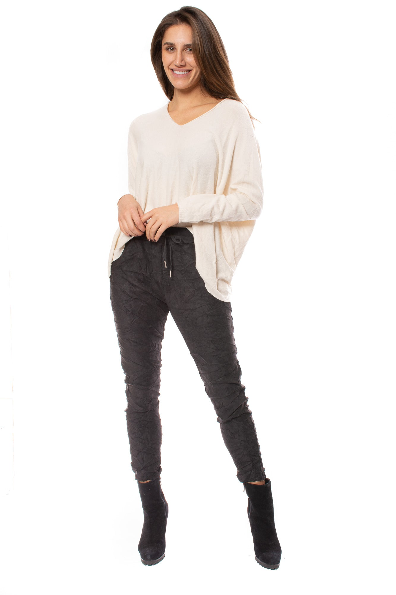Brand Bazaar - One Size Fits All Double V Neck Sweater (CASH V, Beige)