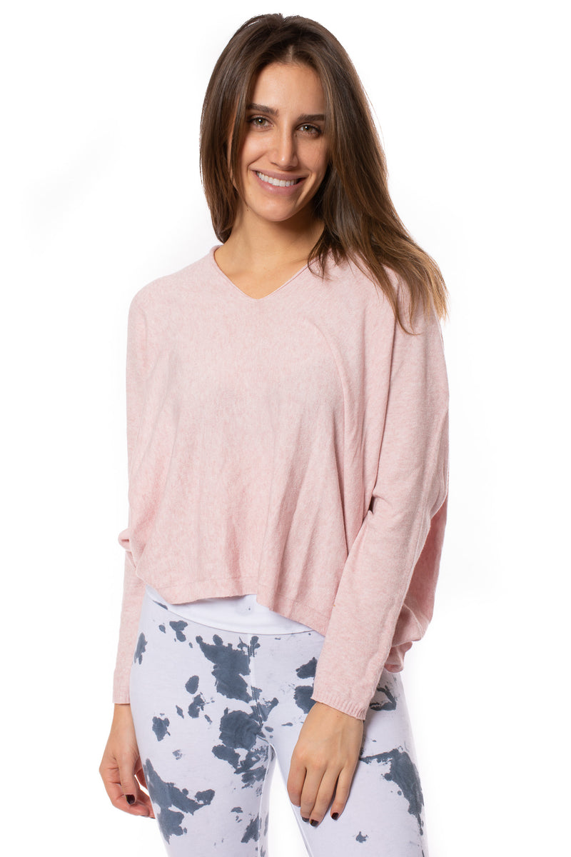 Brand Bazaar - One Size Fits All Double V Neck Sweater (CASH V, Pink)