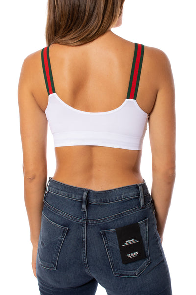 strap-its - White Bra w/Green & Red Straps (GGS, White/Red/Green) alt view 2