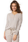 Brand Bazaar - One Size Fits All Gliter Sleeve Shirt (GLIT SLV, Beige) alt view 1