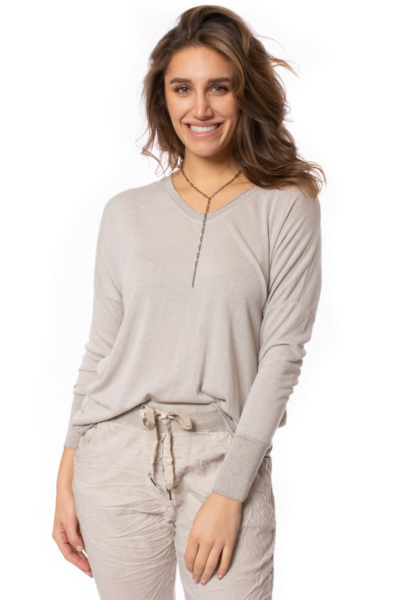 Brand Bazaar - One Size Fits All Gliter Sleeve Shirt (GLIT SLV, Beige)
