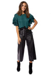 KLK Clothing Co. - Satin Ruffle Blouse (KD43751, Dark Cyan)