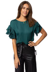 KLK Clothing Co. - Satin Ruffle Blouse (KD43751, Dark Cyan) alt view 1