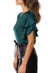 KLK Clothing Co. - Satin Ruffle Blouse (KD43751, Dark Cyan) alt view 2