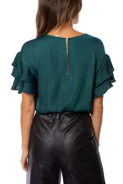 KLK Clothing Co. - Satin Ruffle Blouse (KD43751, Dark Cyan) alt view 3