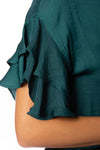 KLK Clothing Co. - Satin Ruffle Blouse (KD43751, Dark Cyan) alt view 4