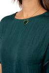 KLK Clothing Co. - Satin Ruffle Blouse (KD43751, Dark Cyan) alt view 6