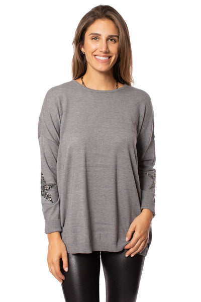 Elan - Long Sleeve Crew Neck Sweater w/Sleeve Stars (SW10507, Grey w/Stars)