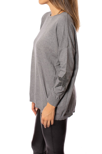 Elan - Long Sleeve Crew Neck Sweater w/Sleeve Stars (SW10507, Grey w/Stars) alt view 1