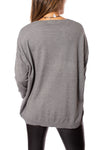 Elan - Long Sleeve Crew Neck Sweater w/Sleeve Stars (SW10507, Grey w/Stars) alt view 2