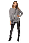 Elan - Long Sleeve Crew Neck Sweater w/Sleeve Stars (SW10507, Grey w/Stars) alt view 6