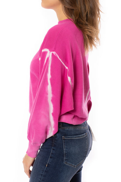 Elan - One Size Fits All Tie-Dye Crew Neck Sweater (SW10456, Tie-Dye Pink) alt view 2