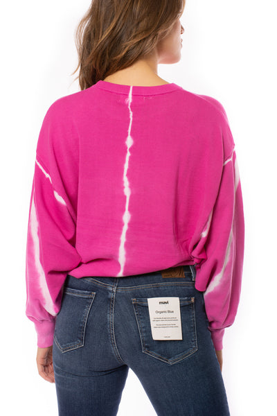Elan - One Size Fits All Tie-Dye Crew Neck Sweater (SW10456, Tie-Dye Pink) alt view 3
