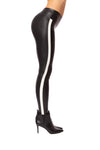 Spanx - Faux Leather Side Stripe Leggings (20187R, Black w/White Stripe) alt view 1