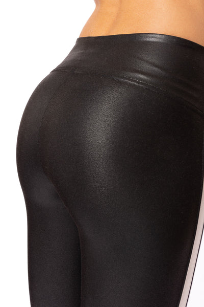 Spanx - Faux Leather Side Stripe Leggings (20187R, Black w/White Stripe) alt view 3