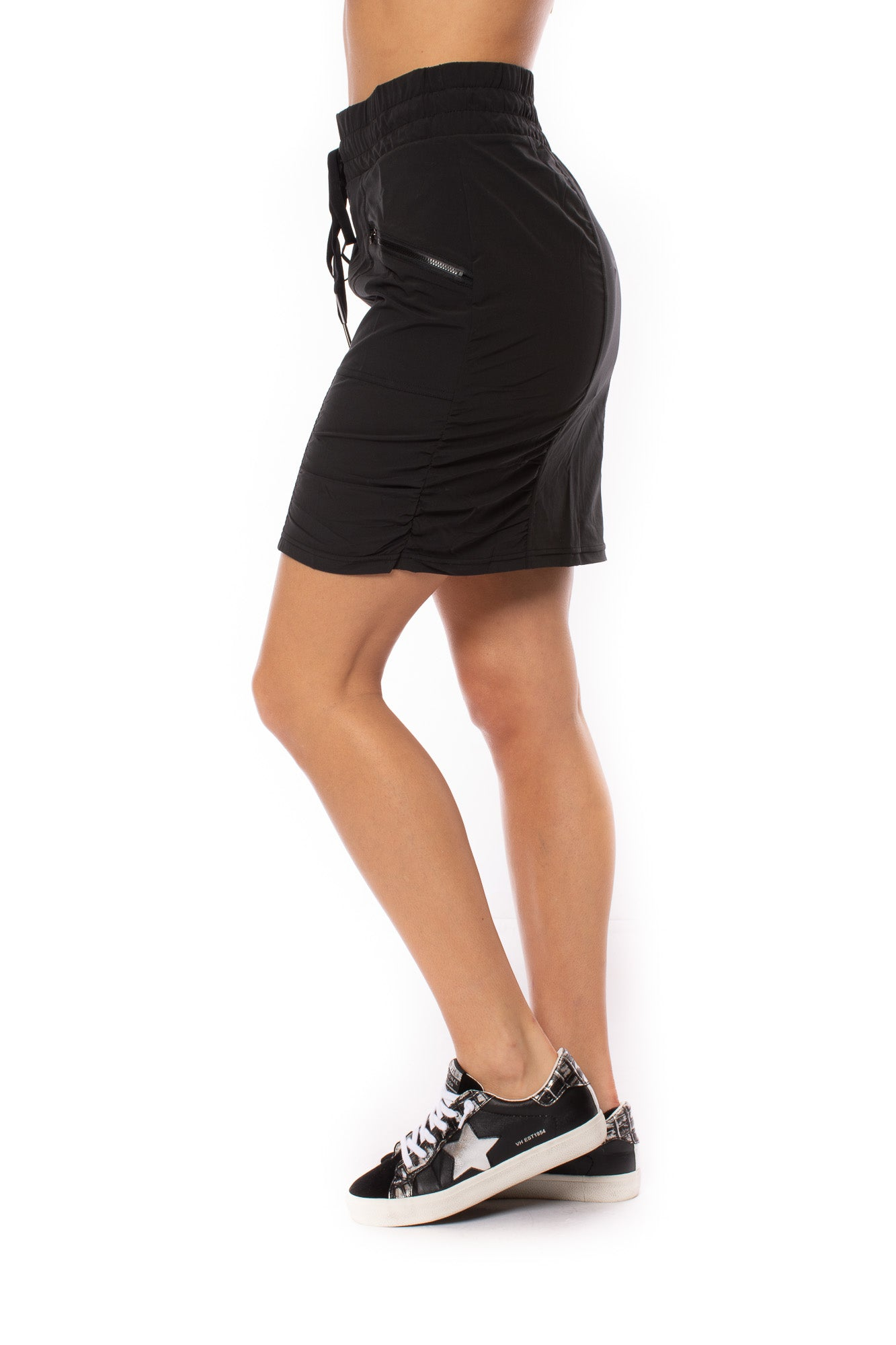 XCVI - Drawstring Zipper Pocket Sweetzer Skirt (21889W, Black)
