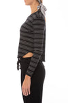 Bobi - Long Sleeve Crop T W/Stripes (579-41700, Black & White) alt view 1