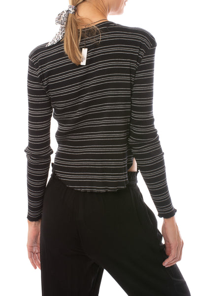 Bobi - Long Sleeve Crop T W/Stripes (579-41700, Black & White) alt view 2