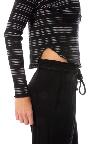 Bobi - Long Sleeve Crop T W/Stripes (579-41700, Black & White) alt view 4