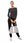 Bobi - Long Sleeve Crop T W/Stripes (579-41700, Black & White) alt view 6