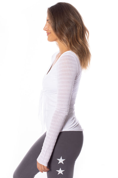 Hard Tail Forever - Sheer Tie Front Long Sleeve Wrap (NS-07, White) alt view 1