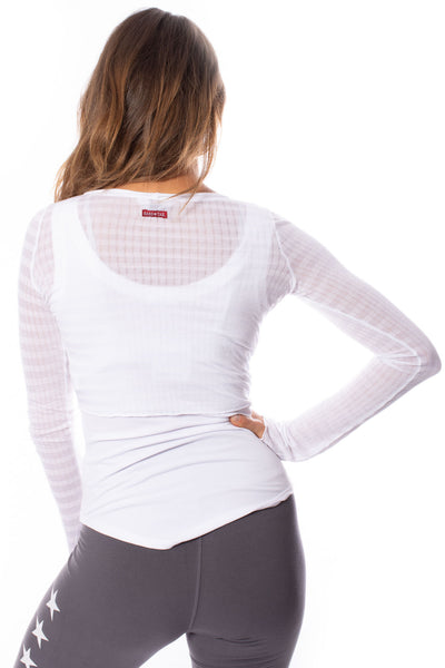 Hard Tail Forever - Sheer Tie Front Long Sleeve Wrap (NS-07, White) alt view 2