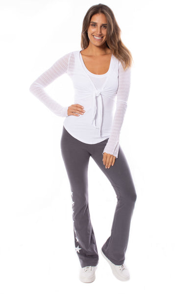 Hard Tail Forever - Sheer Tie Front Long Sleeve Wrap (NS-07, White) alt view 6
