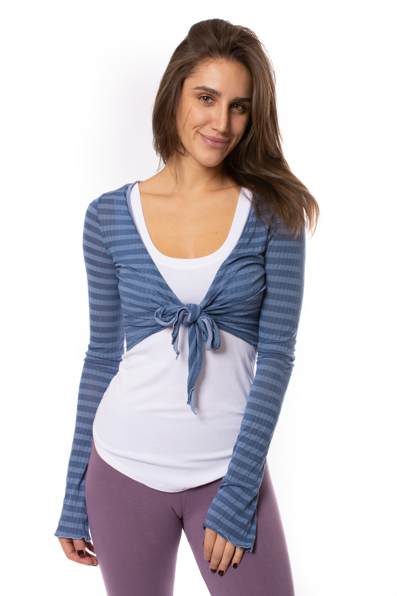 Hard Tail Forever - Sheer Tie Front Long Sleeve Wrap (NS-07, Blue Spa Day)