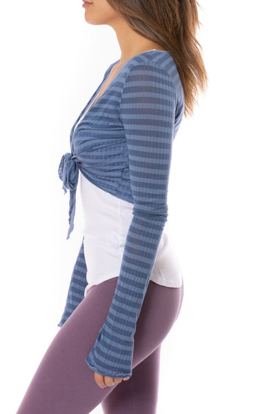 Hard Tail Forever - Sheer Tie Front Long Sleeve Wrap (NS-07, Blue Spa Day) alt view 2