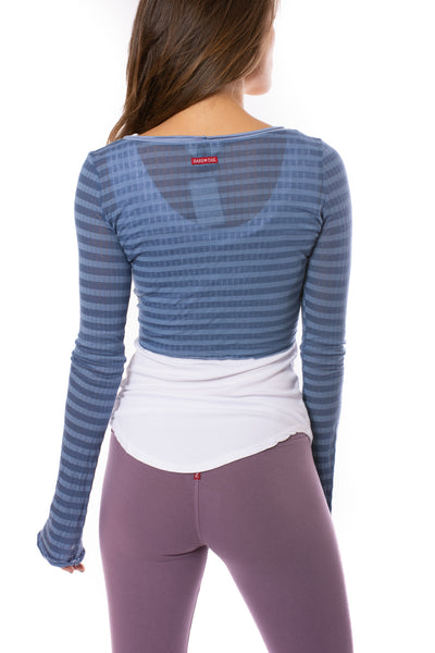 Hard Tail Forever - Sheer Tie Front Long Sleeve Wrap (NS-07, Blue Spa Day) alt view 3