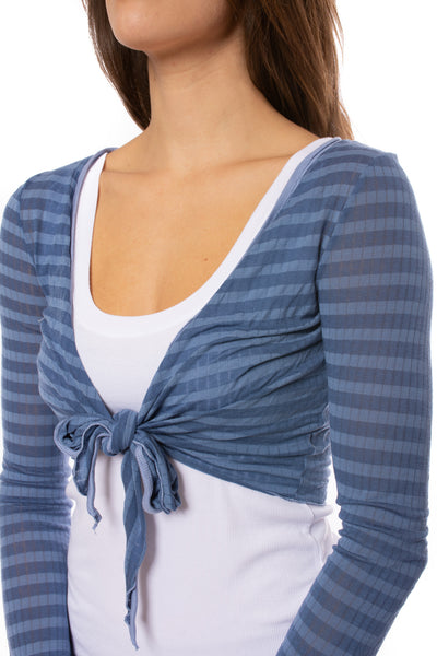 Hard Tail Forever - Sheer Tie Front Long Sleeve Wrap (NS-07, Blue Spa Day) alt view 6